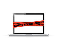 Laptop with a reserved red tape illustration Royalty Free Stock Photos