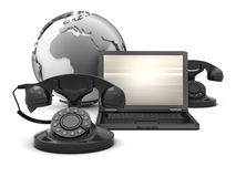 Laptop retro phone and earth globe Royalty Free Stock Images