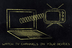 Laptop with retro style television popping out on a spring. Concept of streaming tv series online Royalty Free Stock Photos