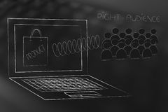 Laptop with the right audience popping out on a spring and product on the screen. Marketing segmentation and targeting conceptual illustration: laptop with the royalty free illustration