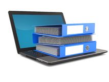 Laptop with ring binders Stock Images
