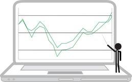 Laptop with rising economy Royalty Free Stock Photo