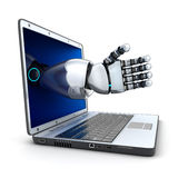 Laptop and the robot arm Stock Images