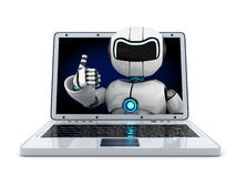 Laptop and robot Royalty Free Stock Photo