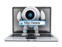 Laptop and robot www address. 3d illustration Royalty Free Stock Photography