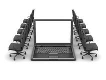 Laptop and row of office chairs vector illustration