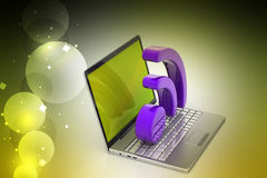 Laptop with rss icon Stock Photo