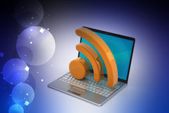 Laptop with rss icon Royalty Free Stock Photo