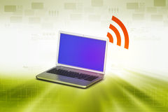Laptop with rss icon Royalty Free Stock Photography