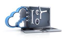 Laptop safe and cloud storage Stock Image