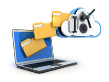 Laptop and safe cloud Royalty Free Stock Photography