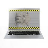Laptop with a safe lock. Royalty Free Stock Photography
