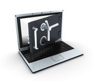Laptop safe, view top Royalty Free Stock Images