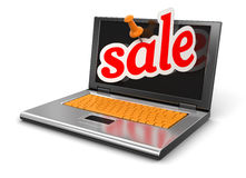 Laptop and sale (clipping path included) Royalty Free Stock Photo