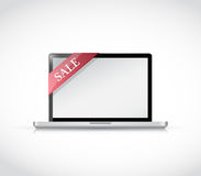 Laptop and sale tag illustration Stock Image