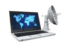 Laptop with Satellite Dish Royalty Free Stock Photography