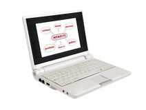 Laptop with scheme seo Stock Photography