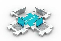 Laptop schließen in den Puzzlespielen an Lizenzfreie Stockfotos