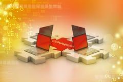 Laptop schließen in den Puzzlespielen an Lizenzfreie Stockfotografie