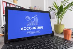 Accounting concept on a laptop. Laptop screen with accounting concept Stock Photo