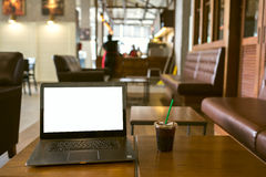 Laptop Screen blank in the cafe. royalty free stock photography