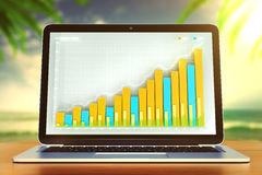 Laptop screen with business chart on wooden table at ocean backg Royalty Free Stock Images