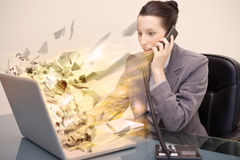 Laptop screen of a businesswoman exploding Stock Photo