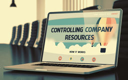 Laptop Screen with Controlling Company Resources Concept. 3D. Stock Image