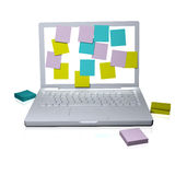 Laptop screen covered in Sticky notes Stock Photography