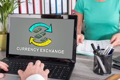 Currency exchange concept on a laptop. Laptop screen with currency exchange concept Stock Photography