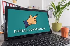 Digital connection concept on a laptop. Laptop screen with digital connection concept royalty free stock photography