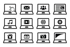 Laptop black  icons set Stock Image