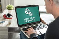 Application update concept on a laptop screen. Laptop screen displaying an application update concept royalty free stock image