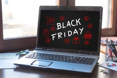 Black friday concept on a laptop screen Royalty Free Stock Photography