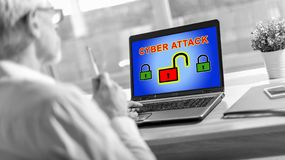 Cyber attack concept on a laptop screen. Laptop screen displaying a cyber attack concept royalty free stock image