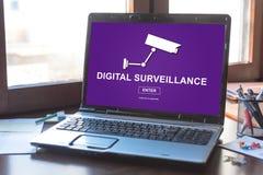 Digital surveillance concept on a laptop screen. Laptop screen displaying a digital surveillance concept Stock Images
