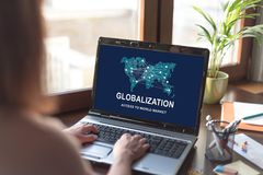 Globalization concept on a laptop screen Royalty Free Stock Photography