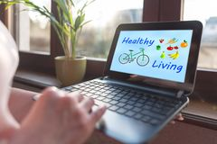 Healthy living concept on a laptop screen stock photography