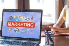 Marketing concept on a laptop screen. Laptop screen displaying a marketing concept stock photos