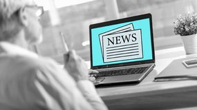 News concept on a laptop screen royalty free stock image