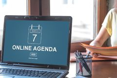 Online agenda concept on a laptop screen royalty free stock image