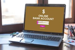 Online bank account concept on a laptop screen. Laptop screen displaying an online bank account concept Royalty Free Stock Photography