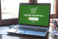 Online shopping concept on a laptop screen. Laptop screen displaying an online shopping concept royalty free stock images