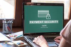 Payment security concept on a laptop screen. Laptop screen displaying a payment security concept Stock Photo