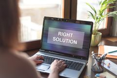 Right solution concept on a laptop screen Stock Photos