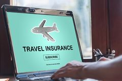 Travel insurance concept on a laptop screen. Laptop screen displaying a travel insurance concept Royalty Free Stock Image