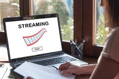 Video streaming concept on a laptop screen stock image