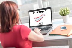 Video streaming concept on a laptop screen stock images