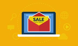 Laptop screen with envelope email marketing. Read promotion from email icon. Internet ads royalty free illustration