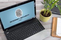 Internet security concept on a laptop. Laptop screen with internet security concept stock images